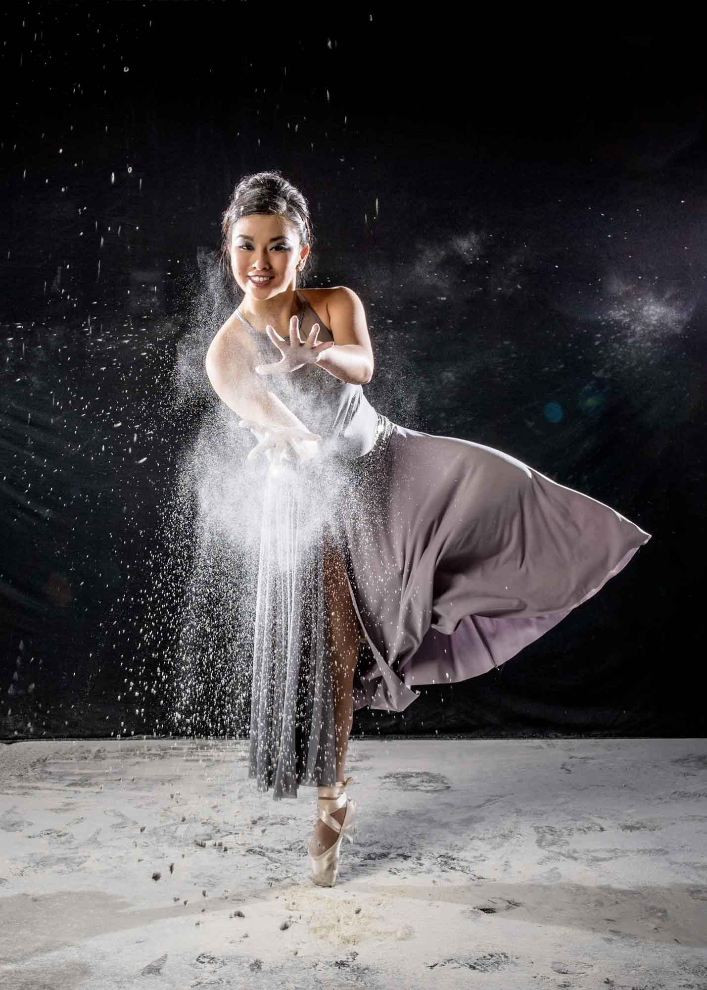 senior picture girl dancer with flour